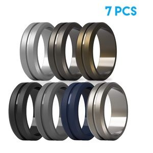 Middle Engraved Line Rubber Engagement Bands Rings